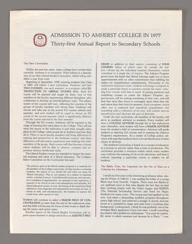 Amherst College annual report to secondary schools, 1977