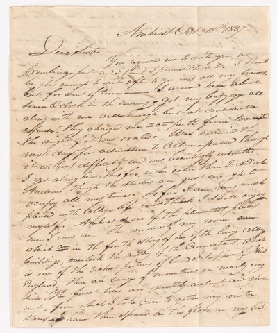 Sidney Brooks letter to Tamesin Brooks, 1837 October 18