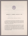 Amherst College annual report to secondary schools, report on admission to Amherst College, and information regarding freshman year, 1955