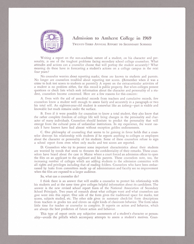 Amherst College annual report to secondary schools, report on admission to Amherst College, and information for applicants for admission, 1969