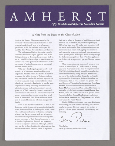 Amherst College annual report to secondary schools, 1999
