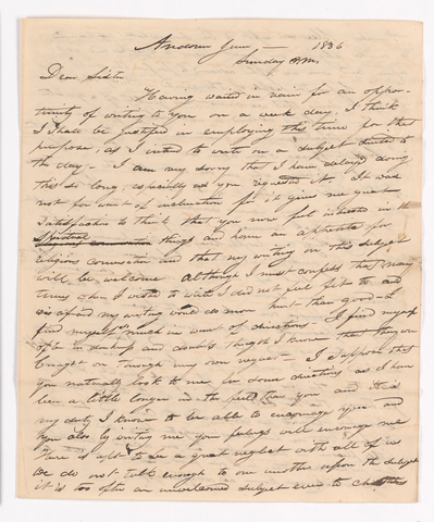 Sidney Brooks letter to his sister, 1836 June
