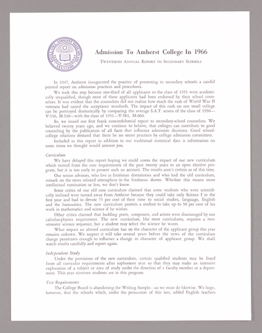 Amherst College annual report to secondary schools and information for applicants for admission, 1966