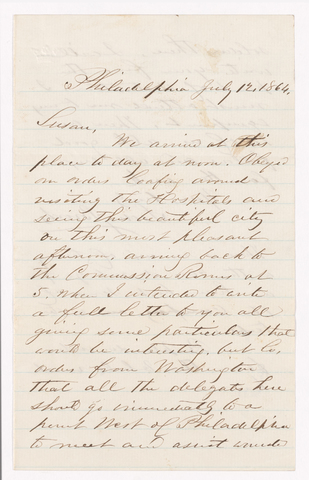 Sidney Brooks letter to Susan Brooks, 1864 July 12