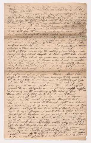 Sidney Brooks letter to his brother, 1835 September 2
