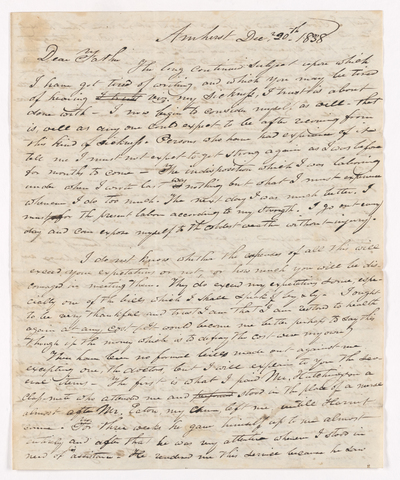 Sidney Brooks letter to Obed Brooks, 1838 December 20