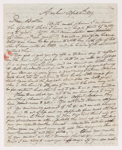 Sidney Brooks letter to Obed Brooks, Jr., 1839 April 4