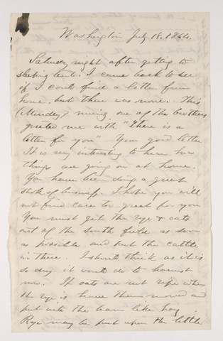 Sidney Brooks letter to unidentified recipient, 1864 July 18