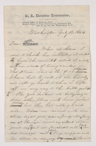 Sidney Brooks letter to Susan Brooks, 1864 July 18
