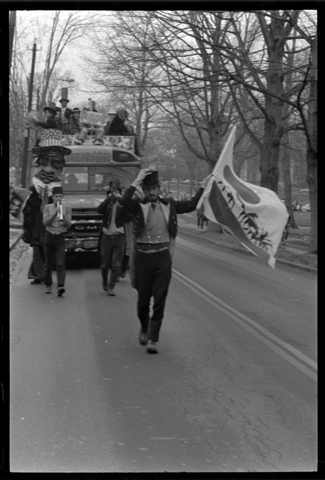 Photographs of the Bread and Puppet Theatre peace march, 1973 January 19-20