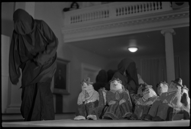 Photographs of the Bread and Puppet Theatre performing in Johnson Chapel, 1973 January
