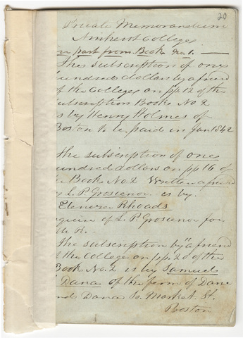 Joseph Vaill memorandum with details regarding subscribers to Amherst College funds, 1841-1844
