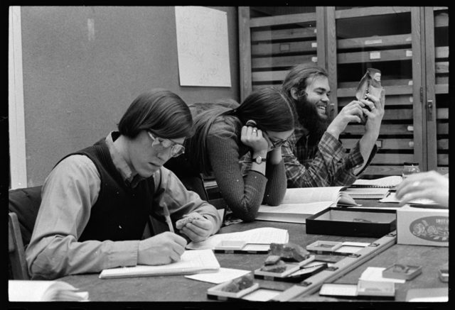 Photographs of the Pratt Museum of Natural History and students examining objects, 1974 February 13