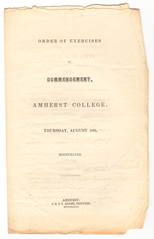 Amherst College Commencement program, 1848 August 10
