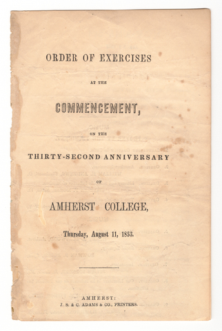 Amherst College Commencement program, 1853 August 11