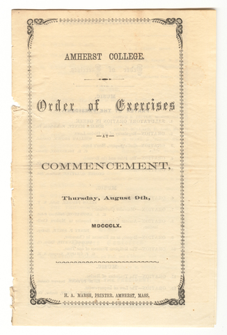 Amherst College Commencement program, 1860 August 9