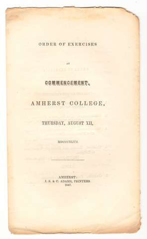 Amherst College Commencement program, 1847 August 12