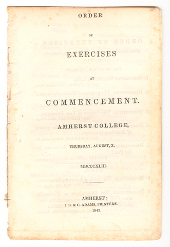 Amherst College Commencement program, 1843 August 10