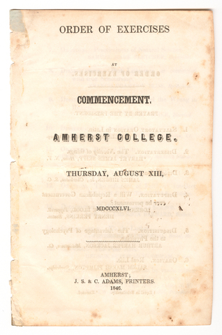 Amherst College Commencement program, 1846 August 13