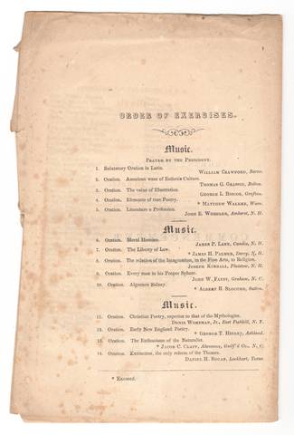 Amherst College Commencement program, 1857 August 13