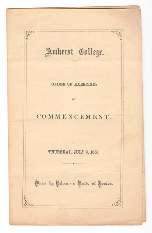 Amherst College Commencement program, 1863 July 9