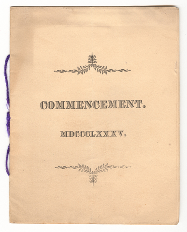 Amherst College Commencement program, 1885 July 1