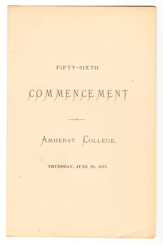 Amherst College Commencement program, 1877 June 28