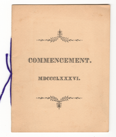 Amherst College Commencement program, 1886 June 30