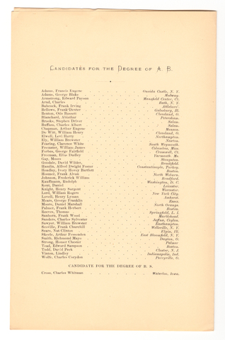 Amherst College Commencement program, 1875 July 8