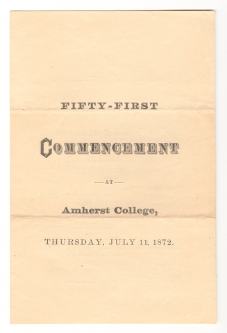 Amherst College Commencement program, 1872 July 11