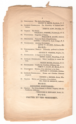 Amherst College Commencement program, 1852 August 12