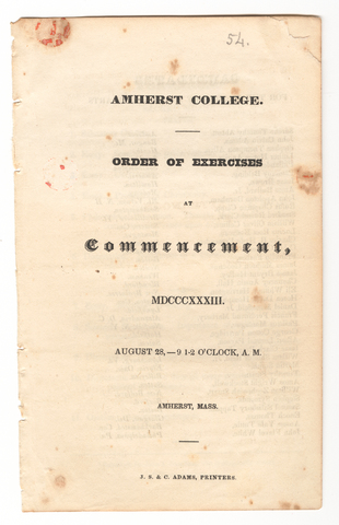 Amherst College Commencement program, 1833 August 28