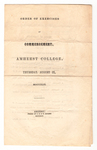 Amherst College Commencement program, 1849 August 9