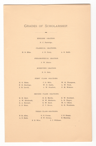 Amherst College Commencement program, 1882 June 28