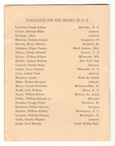 Amherst College Commencement program, 1884 July 2