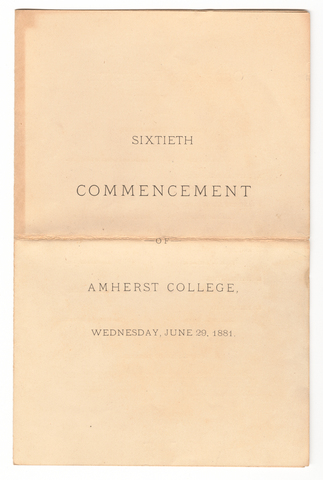 Amherst College Commencement program, 1881 June 29