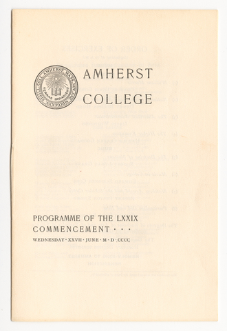 Amherst College Commencement program, 1900 June 27