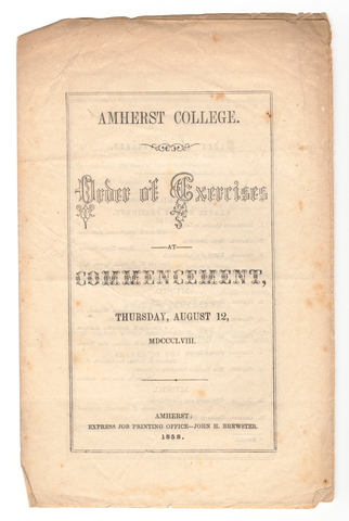 Amherst College Commencement program, 1858 August 12