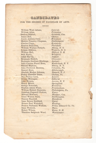 Amherst College Commencement program, 1832 August 22