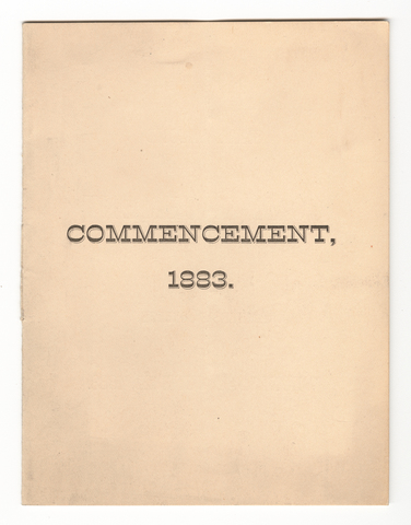 Amherst College Commencement program, 1883 June 27