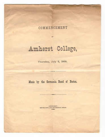Amherst College Commencement program, 1868 July 9
