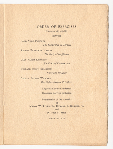 Amherst College Commencement program, 1910 June 29