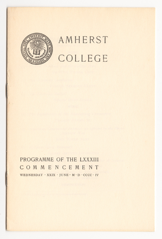 Amherst College Commencement program, 1904 June 29