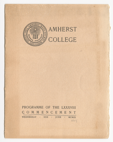 Amherst College Commencement program, 1909 June 30