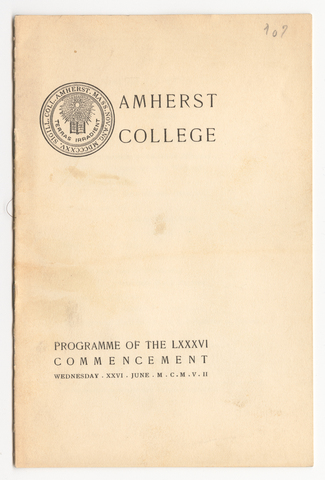 Amherst College Commencement program, 1907 June 26
