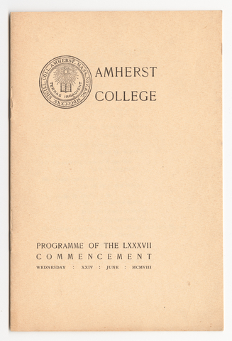 Amherst College Commencement program, 1908 June 24