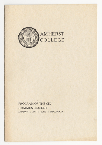Amherst College Commencement program, 1930 June 16