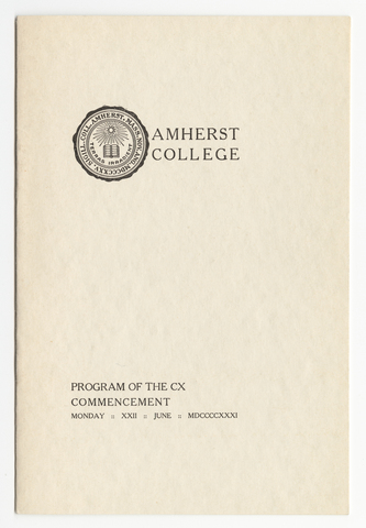 Amherst College Commencement program, 1931 June 22