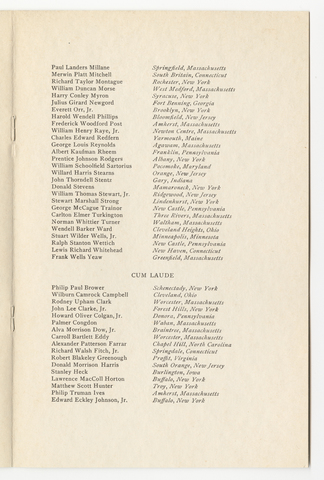 Amherst College Commencement program, 1932 June 20