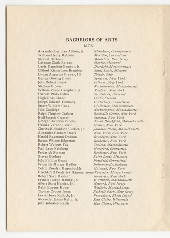 Amherst College Commencement program, 1928